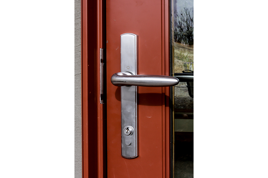 A silver-colored door handle on a red and glass door.